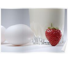 White eggs with glass of milk and strawberry Poster