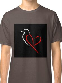 Bird with red wings shaped like heart Classic T-Shirt