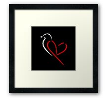 Bird with red wings shaped like heart Framed Print