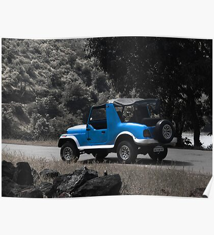 Blue Custom Jeep Poster