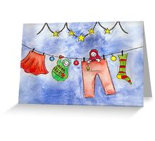 Matryoshka Dolls on a Clothesline Greeting Card