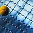Tennis ball on TV screen displaying racket&#x27;s wire mesh by Sami Sarkis