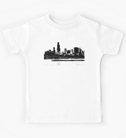 Chicago Skyline Black and White Kids Tee