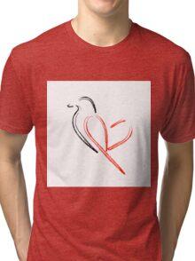 Artistic bird with red heart Tri-blend T-Shirt