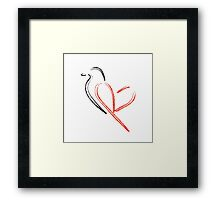 Artistic bird with red heart Framed Print