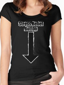 Stress Relief Button Women's Fitted Scoop T-Shirt