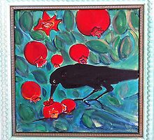 Crow and Pomegranate by Suzi Linden