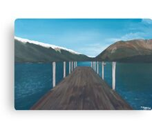 New Zealand Mountain Lake By The Pier Canvas Print