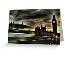 Taxi Passing by Big Ben Greeting Card