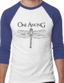 Dragonfly Among the Fence (Black) Men's Baseball ¾ T-Shirt