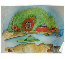 happy turtles adorned with Poppy blooms Poster