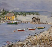 Lobster Cove in Winter by katherine rohnert