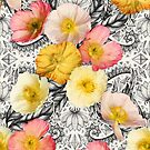Collage of Poppies and Pattern by micklyn