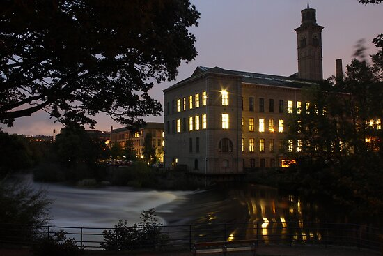 salts mill by night near the river aire west yorkshire by simon sugden