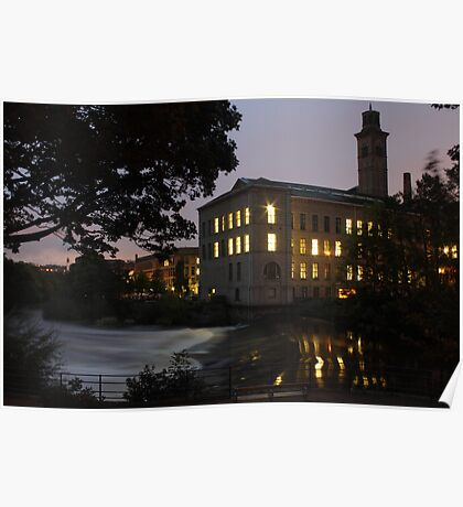 salts mill by night near the river aire west yorkshire Poster