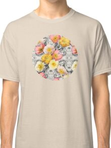 Collage of Poppies and Pattern Classic T-Shirt