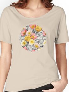 Collage of Poppies and Pattern Women's Relaxed Fit T-Shirt