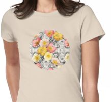 Collage of Poppies and Pattern Womens Fitted T-Shirt