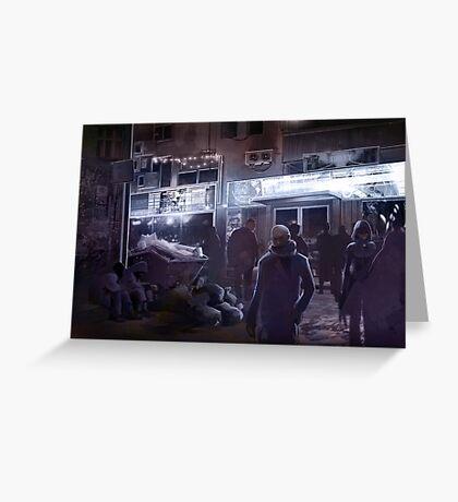 Cyberpunk Street at night Greeting Card