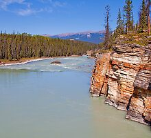 Canada. Canadian Rockies. Jasper National Park. Athabasca River. Cliff. by vadim19