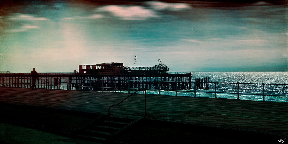 Dawn on the Seafront At Hastings by Chris Lord