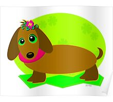 Dachshund Dog with a Flower Poster