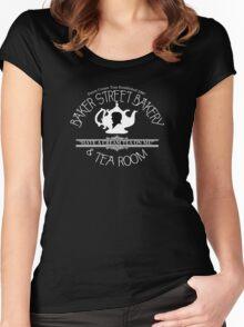 "BBC Sherlock ""Cream Tea"" Bakery & Tea Shop (Dark) Women's Fitted Scoop T-Shirt"