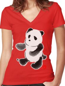 Ink Wash Panda Women's Fitted V-Neck T-Shirt