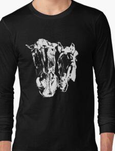 Twoo horses White on Black Long Sleeve T-Shirt