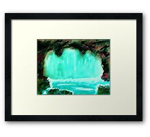Waterfall in cave, watrcolor Framed Print