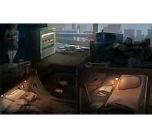 Cyberpunk room at dawn Photographic Print