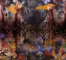 Grunge Fall Forest, digital painting by walstraasart