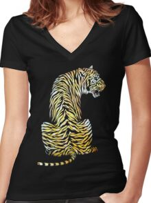 roaring tiger lion back strength Women's Fitted V-Neck T-Shirt