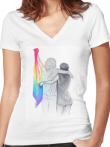 The Rainbow Flag: 'I would if I could… not yet, but soon.' Women's Fitted V-Neck T-Shirt