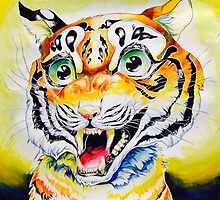 Smiling roaring tiger cute by frenchorange