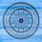 Hand Drawn Blue And White Mandala by Zedart