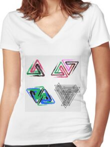 Penrose triangles with crayons Women's Fitted V-Neck T-Shirt