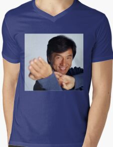 Jackie Chan is a happy guy Mens V-Neck T-Shirt