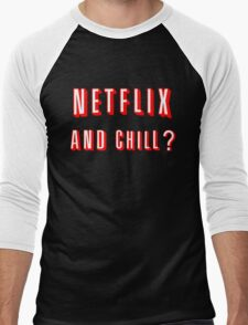 Netflix and Chill Black Men's Baseball ¾ T-Shirt