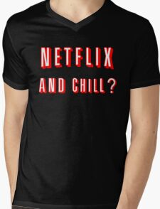 Netflix and Chill Black Mens V-Neck T-Shirt