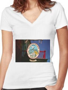 No Name Saloon Women's Fitted V-Neck T-Shirt