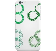Beautiful green leaves stylized with organic lines  iPhone Case/Skin