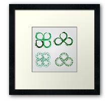 Beautiful green leaves stylized with organic lines  Framed Print