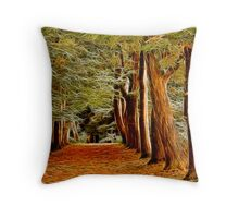 Fractalius Autumn Walkway Throw Pillow