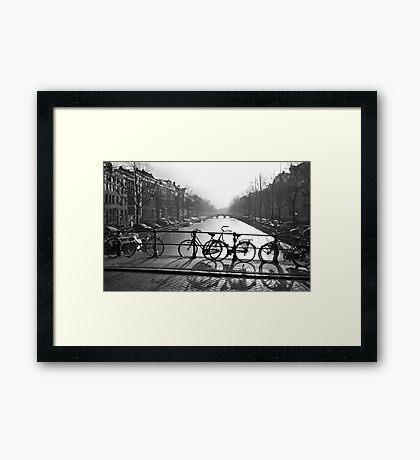 Bicycles on the Bridge Framed Print