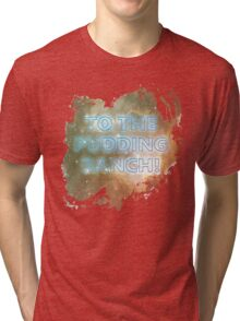 I wonder what they keep in the Pudding Ranch? Tri-blend T-Shirt