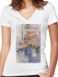 Something Rotten - Broadway Musical - Selfie - New York Theatre District Watercolor Women's Fitted V-Neck T-Shirt