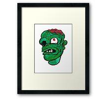 Halloween Green Zombie Brain Framed Print