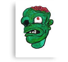 Halloween Green Zombie Brain Canvas Print
