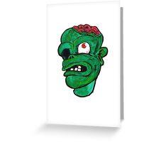Halloween Green Zombie Brain Greeting Card